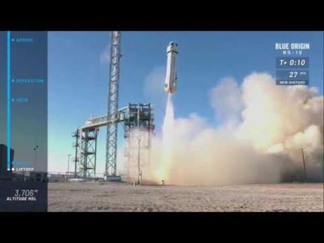 Blastoff! Blue Origin's New Shepard Rocket Launches NASA Mission