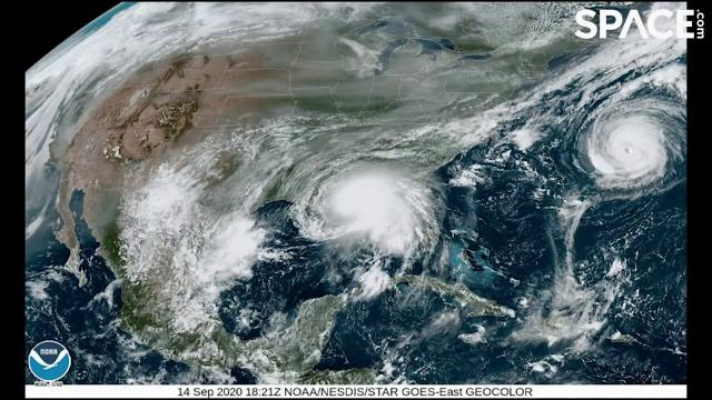 Slow-moving Hurricane Sally seen from space in time-lapsed views