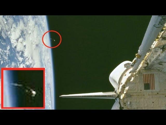 UFO Or Black Knight Satellite Seen In NASA Archive Photo Near Space Shuttle