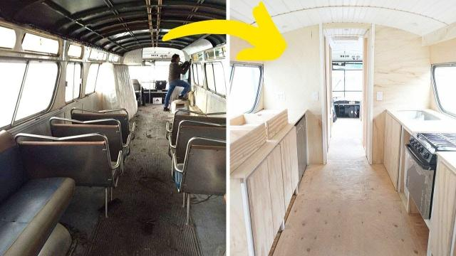 After 3 Years Of Work, This Woman Converted A Vintage Bus Into A Chic Tiny Home