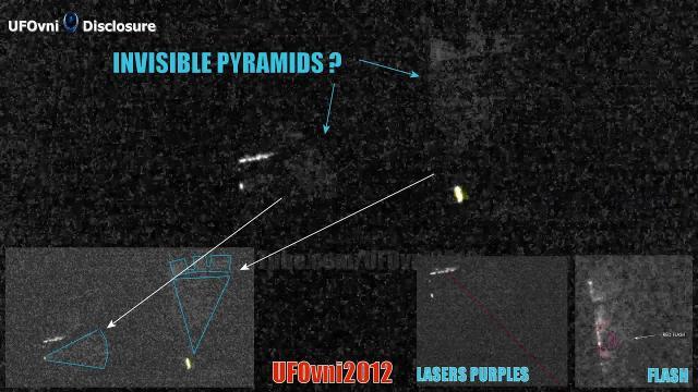 5 Dark Knight Satellite & 2 UFOs Rectangles, 2 Triangles Invisible (2 Pyramids) in Arkansas
