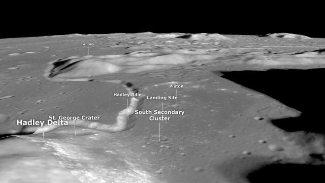 Apollo 15 landing site visualized from orbiter imagery (with SEVA audio)