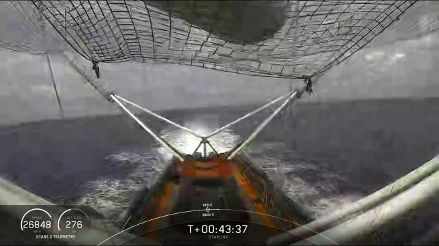 SpaceX boats at sea! Fairing half caught, drone ships see each other
