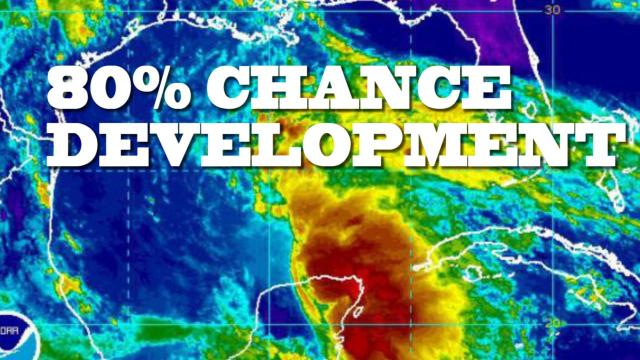 80% chance Gulf Coast storm development & 1 foot of rain for TX coast