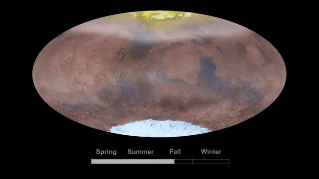 See the Martian Clouds, Dust And Ice Change With the Seasons in Simulation