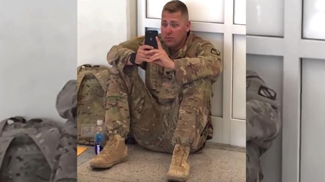 "After Airport Staff Hear ""Don't Let Him Board The Flight"", They Spot Soldier Crying At Sight On His"