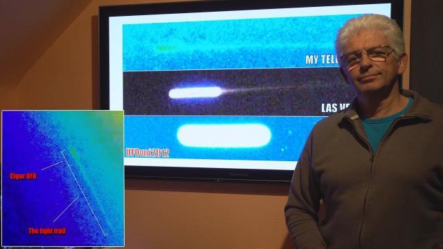 TELESCOPE SUN 4K: Many Cigar UFO With Light Trail