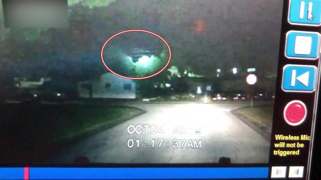 Huge flying object caught by cruiser in-car camera of law enforcement officer in Florida