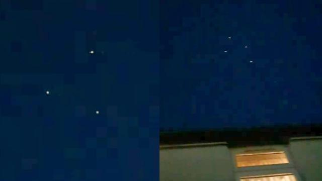 Cluster of Coloured Flashing UFOs Passing over Family's House in Cheshire (UK) - FindingUFO