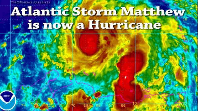 Giant Atlantic storm Matthews is now a Hurricane & a threat to East Coast USA