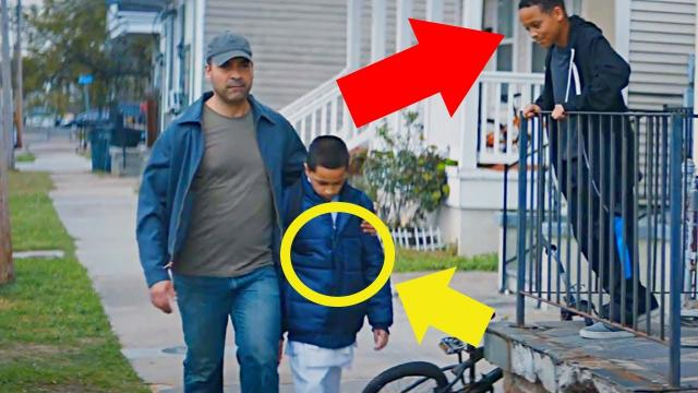 Dad Passes Men Who Mock Son Daily, But Look At What He's Hiding Under His Coat