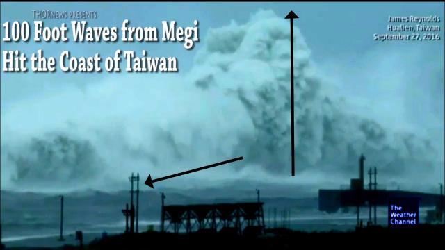 Wow! Typhoon Megi  hits Taiwan Coast with 50-100 ft Waves!