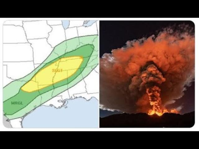 Red Alert! Tornado & Flash Flood Danger from Texas to Kentucky! + lots of Volcano & Solar Activity