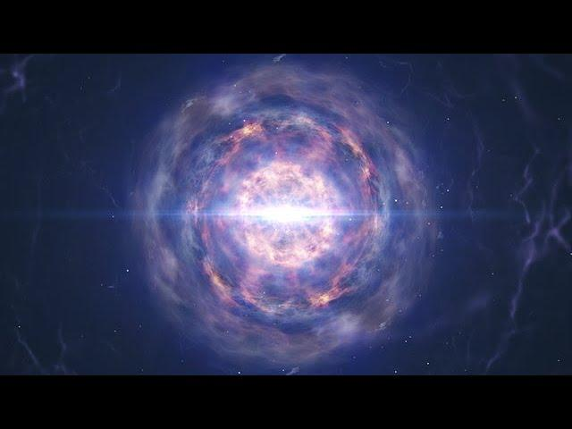 Neutron star merger animation ending with kilonova explosion