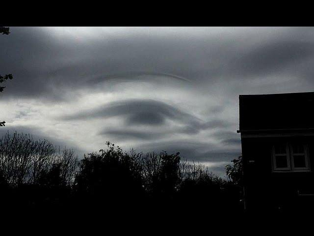 All Seeing Eye of Horus, the Egyptian Sun God appears in the sky over Leeds, UK
