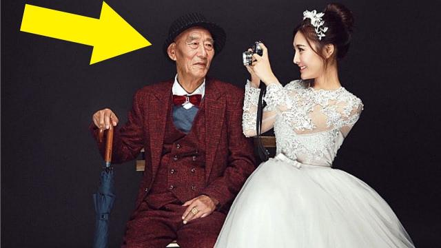 Woman Marries Grandpa, But When He Sees Her Dress The Weirdest Thing Happens