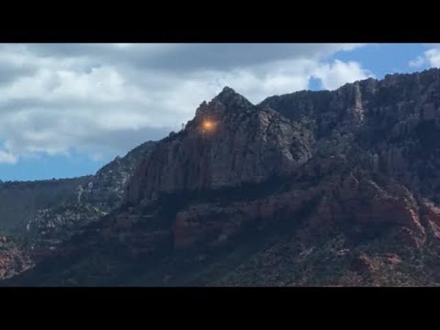 Golden UFOs Seen Leaving Mountain Peeks Of Sedona, Arizona