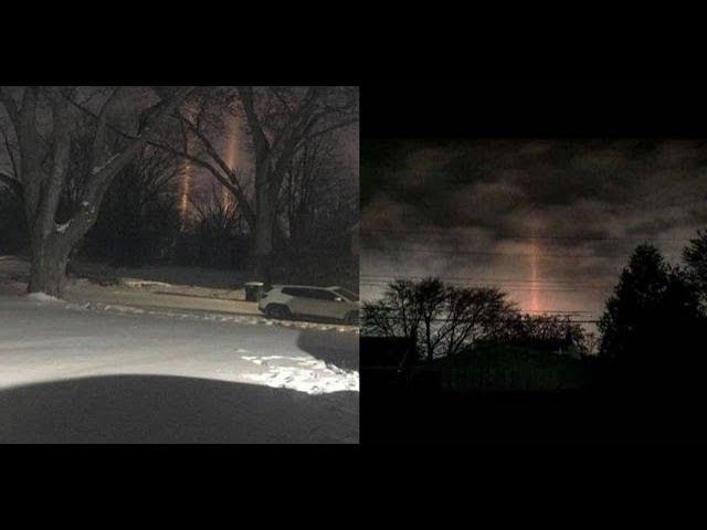 What are these rays of energy beamed down lightning the ground in Michigan