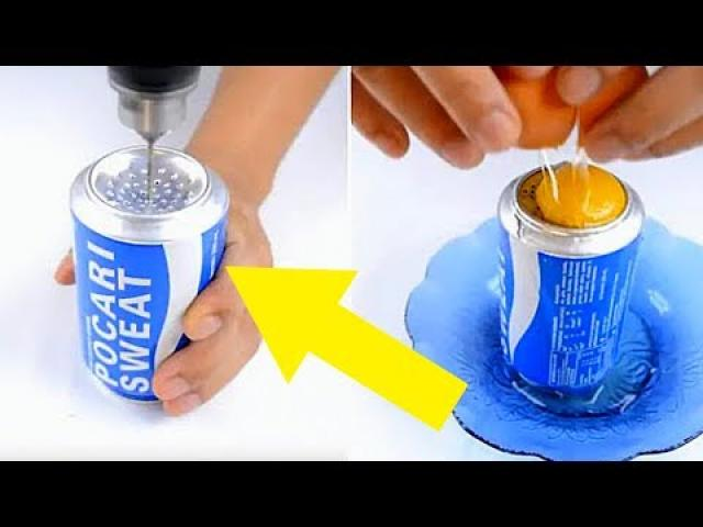 PEOPLE ARE CRACKING EGGS INTO OLD SODA CANS FOR A WEIRD PURPOSE THAT'S SNEAKILY BRILLIANT