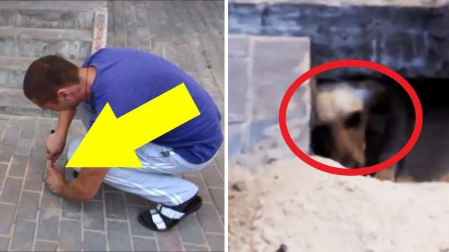 They thinks he's crazy for digging up the sidewalk – then they see her eyes and realize he's a hero