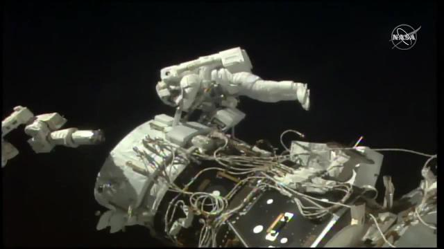 Docking Adaptor Installed on Space Station - Spacewalkers Clean-Up