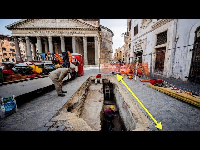 New Archaeological Discovery S-hole Opens up Near Pantheon Exposing Underground Ancient World