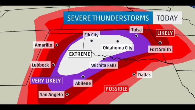 RARE LEVEL 5 RISK for Texas & Oklahoma today & then storm gets NASTY on Wednesday
