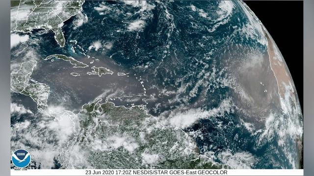 Saharan dust cloud on the move over Atlantic in time-lapsed space view
