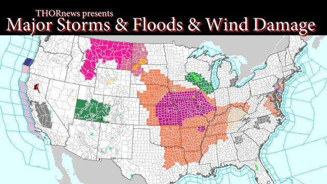 MAJOR Storms to bring Floods & Wind Damage to USA through Weekend