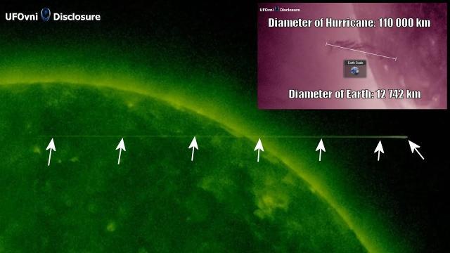 Long UFO Near The Sun, sept 20, 2021