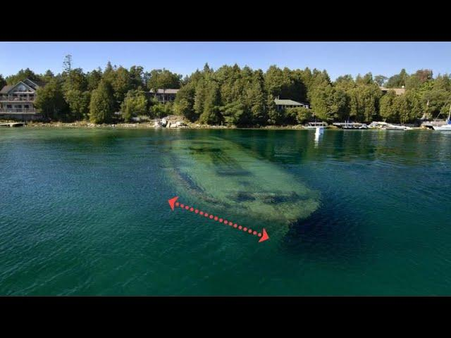 Shipwrecks Visible from Sky Above Lake Michigan due to Crystal Clear Water