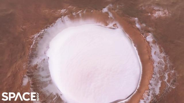 Icy Mars Korolev crater is 51 miles across - Flyover animation from orbiter imagery