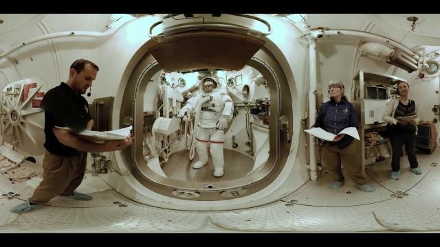 Spacesuit training in a vacuum chamber at NASA Johnson (360 View)
