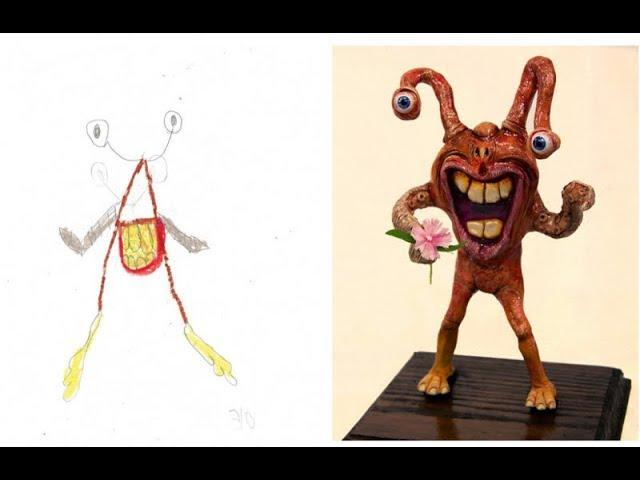 Recreated Monster Drawings Artists Interpret 16 Kids' Imaginary Monsters