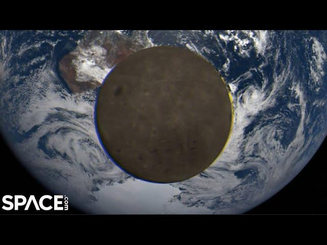 See the far side of moon as it comes between Earth and spacecraft