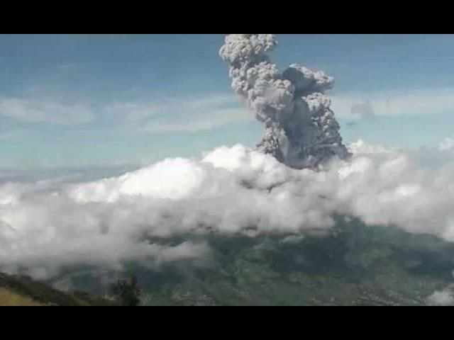 Volcano Eruption at Indonesia's Mount Merapi after Ring of Fire eclipse passes over area.