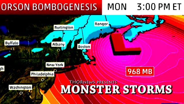 Monster Winter Storm Orson headed to East Coast USA. Bombogenesis!