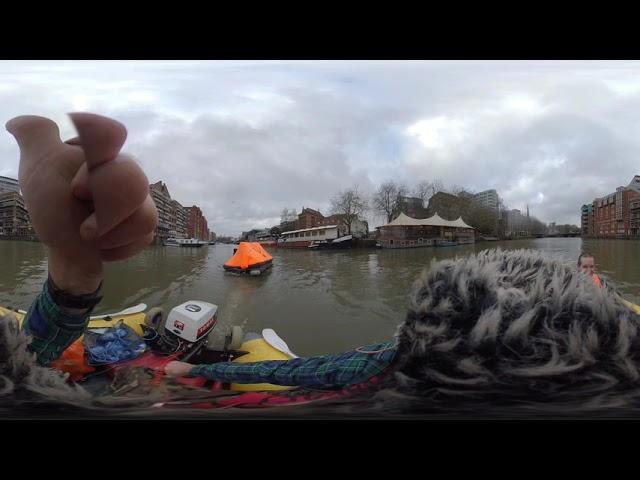 Underground Bristol by Boat WE DRAG A LIFERAFT IN! 360VR edition