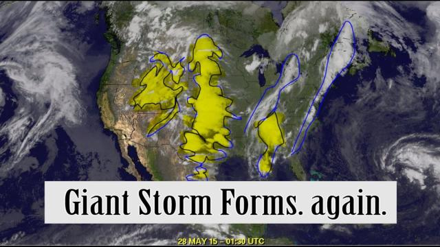Giant Storm system forms across middle of USA. again.