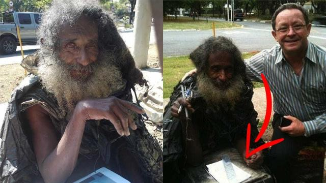 Woman Walks Past Homeless Man Every Day, Then He Hands Her A Note Revealing His True Identity
