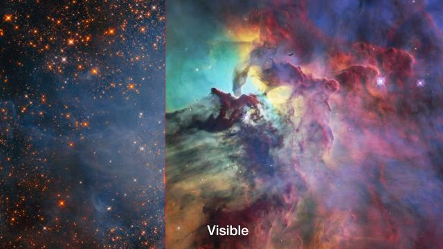See the Lagoon Nebula in Visible and Infrared Light