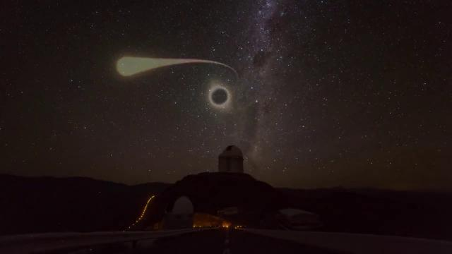 Light blast from black hole 'spagettifying' a star spotted by ESO