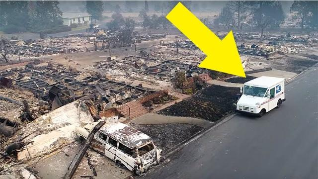 A Mailman Drove Around A Town Burnt Down By The Wildfires – And He Had No Idea He Was On Camera..
