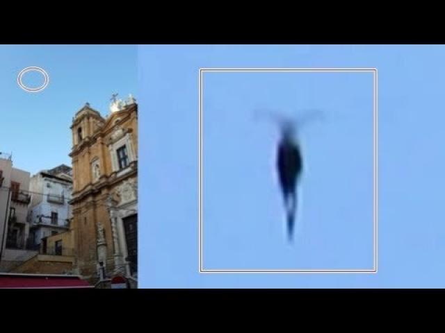 Flying humanoid with wings filmed over Agrigento, IT